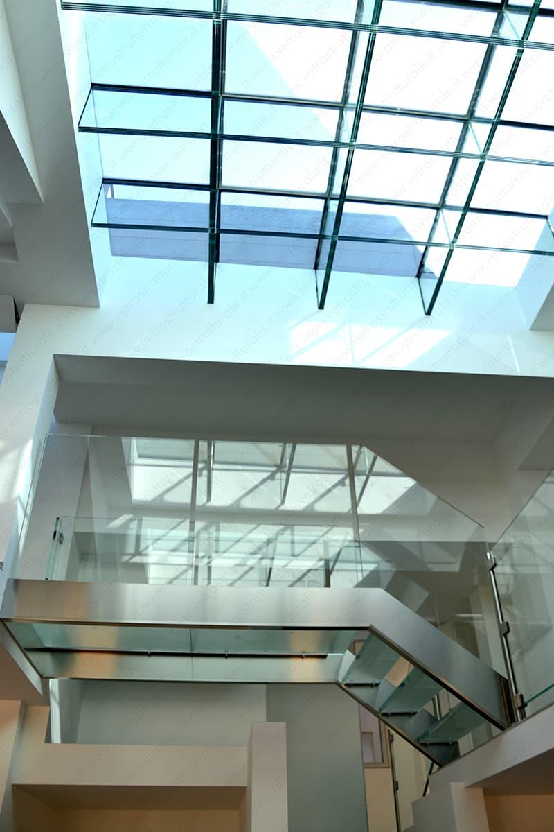 lucernario con travi in vetro brevettate sistema VTRS Milano via Solferino