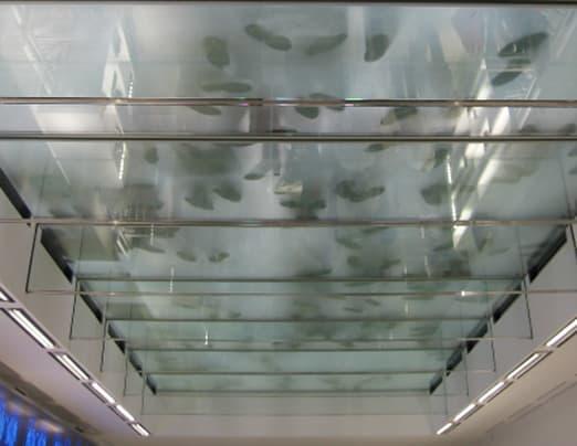 : visto l'utilizzo, il solaio in vetro è stato progettato staticamente per carichi importanti di folla